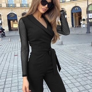 Pants - V Neck Slim Fit Sexy Jumpsuit - Belted